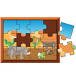 jigsaw puzzle game with rhino on desert land vector image vector image