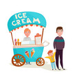 kid near ice cream seller cartoon vector image