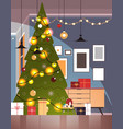 living room with decorated fir tree and garlands vector image vector image