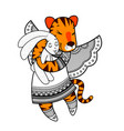 lovely tiger with wings in beautiful clothes with vector image vector image