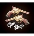 Old revolver handgun Cowboy gun vector image