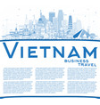outline vietnam city skyline with blue buildings vector image vector image
