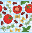 pasta beans herbs and tomatoes seamless pattern vector image vector image