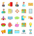 pouch icons set cartoon style vector image vector image