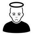 sad holy man black icon vector image vector image