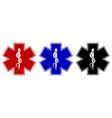 set medical star symbol in three color vector image