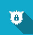 shield security with lock icon with long shadow vector image