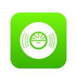 vinyl record icon green vector image vector image