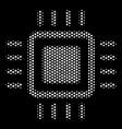 white pixel processor icon vector image vector image