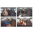 winter road trip people traveling car set vector image vector image