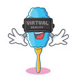 with virtual reality feather duster character vector image vector image
