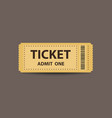 yellow stub ticket vector image