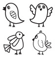 set of bird hand drawn design vector image