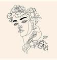 art line flower head minimalist woman print vector image vector image