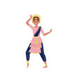 beautiful indian woman dancing in traditional vector image
