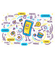 blue and yellow color smile character phone with vector image