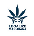 cannabis leaf on statue of liberty vector image vector image