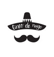 cinco de mayo mexican man silhouette with sombrero vector image