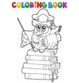 coloring book owl teacher theme 2 vector image vector image