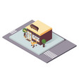 concept isometric scene with coffee shop or vector image vector image
