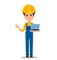 constructor worker handsome builder holding vector image vector image