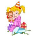 cute happy cartoon girl with teddy bear vector image