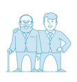 elderly father and adult son together vector image vector image
