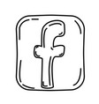 facebook icon doodle hand drawn or black outline vector image vector image