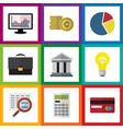 flat exchequer set of portfolio graph bank and vector image