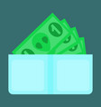flat icon on stylish background money in a purse vector image