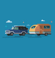 flat style on road trip trailering vector image vector image