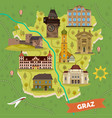 graz town map with sightseeing landmarks vector image vector image
