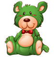 green bear white background vector image vector image