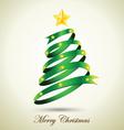 Green Ribbon Christmas Tree With Gold Star vector image vector image