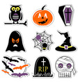 Halloween icons set in colour in label style vector image vector image