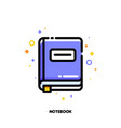 icon of notebook with bookmark for office work vector image