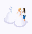 isometric is a set of tailors sewing wedding dress vector image