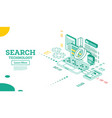 isometric search query algorithm organic search vector image vector image