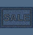jeans sale poster with sequins and stitches vector image vector image