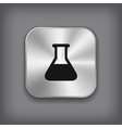 Laboratory equipment icon - metal app button vector image