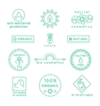 Natural cosmetics line icons and badges set vector image vector image