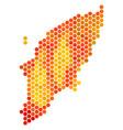 orange hexagon greek rhodes island map vector image vector image