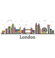 outline london england city skyline with color vector image