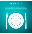 Platefork and knife flat icon on blue background vector image vector image