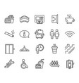 public services line icons elevator cloakroom vector image
