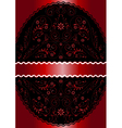 Red ribbon in red wavy openwork floral oval frame vector image vector image