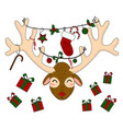 reindeer head with christmas gift boxes vector image vector image