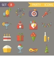 Retro Flat Birthday Party Celebrate Icons and vector image vector image