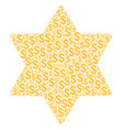 six pointed star composition of dollar vector image