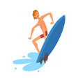 smiling male surfer character riding waves vector image vector image